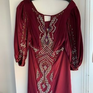 Beaded Nanette Lepore Burgundy Silk Dress